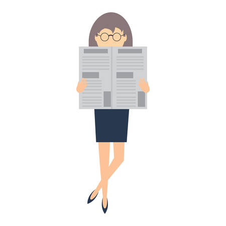 avatar woman with glasses and reading newspaper over white background, vector illustration