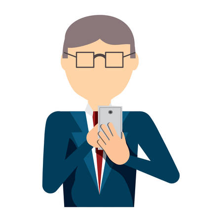 avatar businessman with glasses and using a cellphone over white background, colorful design. vector illustration