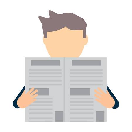 avatar man reading a newspaper over background, colorful design.  vector illustration Illustration