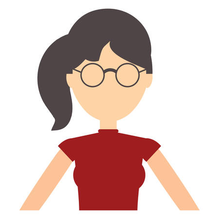 Avatar young woman with glasses over white background, colorful design. vector illustration