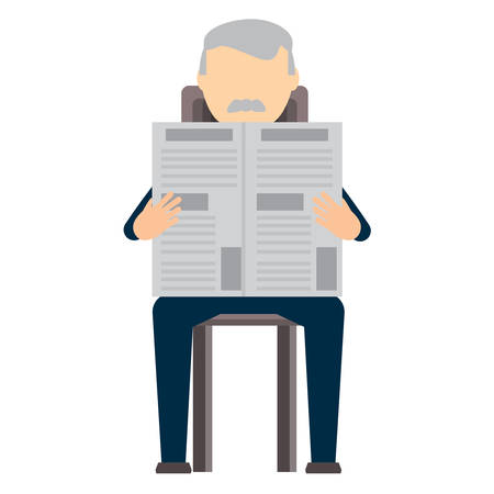avatar businessman sitting and reading a newspaper over white background, colorful design. vector illustration Illustration