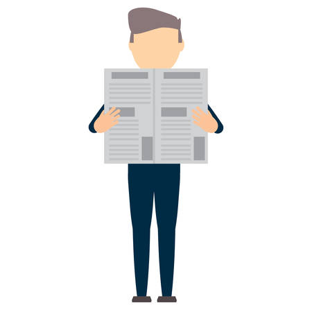 avatar young man standing and reading a newspaper over white background, vector illustration
