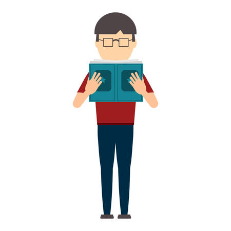 avatar man standing and reading a book over white background, colorful design. vector illustration