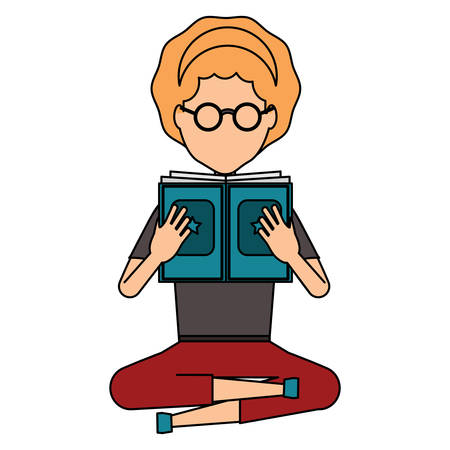 avatar woman sitting and reading a book over white background, colorful design. vector illustration