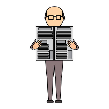 avatar old man standing and reading a newspaper over white background, colorful deign. vector illustration