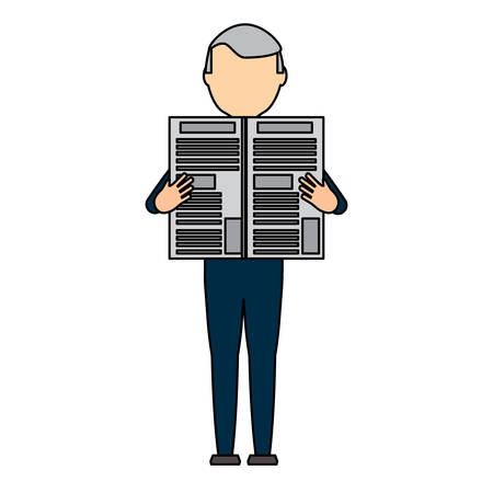avatar adult man standing and reading a newspaper over white background, colorful design. vector illustration