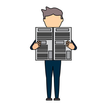 avatar businessman reading a newspaper over white background, colorful design. vector illustration