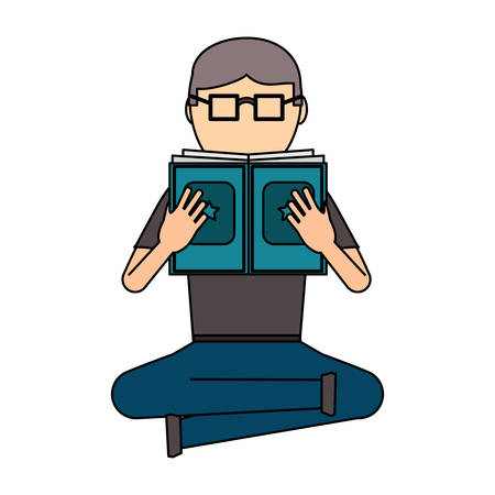 avatar man sitting and reading a book over white background, colorful design. vector illustration