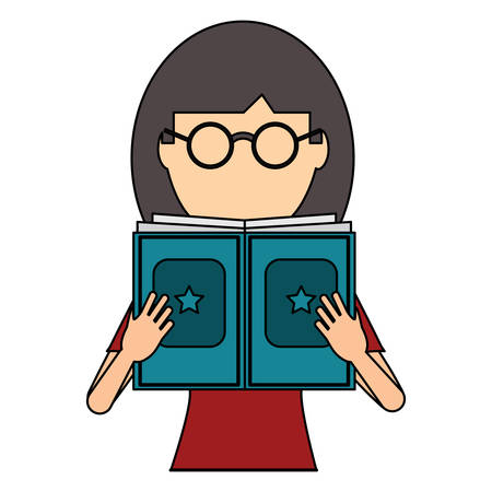 avatar woman with glasses reading a book over white background, colorful design. vector illustration