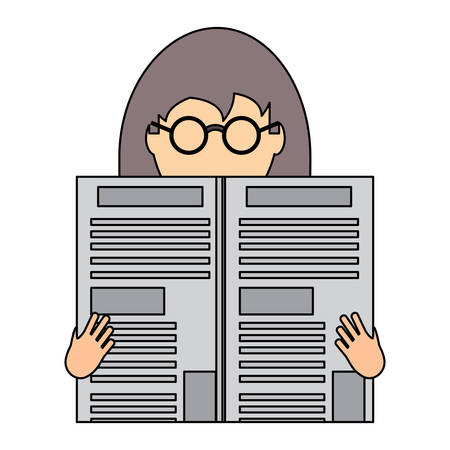 avatar woman with glasses reading a newspaper over white background, colorful design. vector illustration