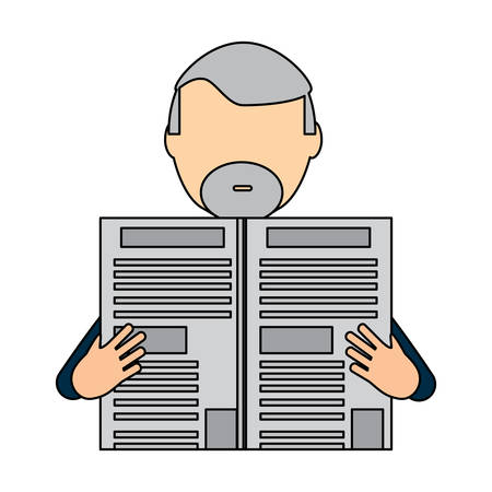 avatar man with beard reading a newspaper over background, colorful design, vector illustration