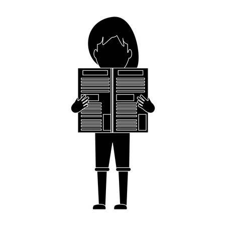 avatar woman standing and reading a newspaper over white background, vector illustration Stock Illustratie