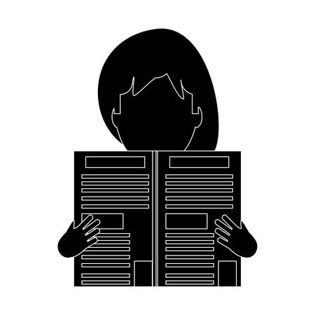 avatar woman reading a newspaper over white background, vector illustration