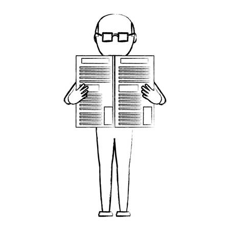 sketch of avatar old man standing and reading a newspaper over white background, vector illustration