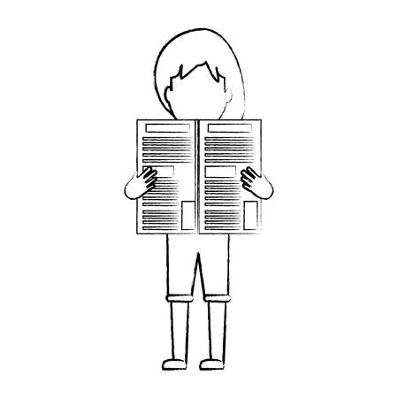 sketch of avatar woman standing and reading a newspaper over white background, vector illustration