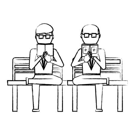 sketch of businessmen sitting on a bench and reading a book over white background, vector illustration