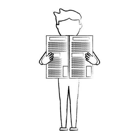 avatar man standing and reading a newspaper over white background, vector illustration