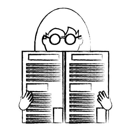 sketch of avatar woman with glasses reading a newspaper over white background, vector illustration