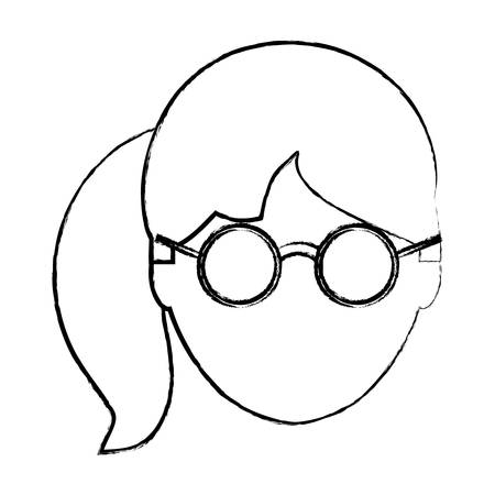 sketch of avatar woman with glasses and pony tail over white background, vector illustration Standard-Bild - 98874723