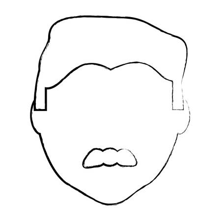 sketch of avatar man with mustache over white background, vector illustration