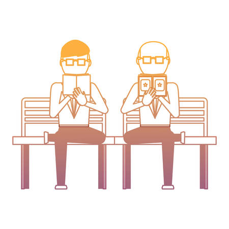 businessmen sitting on a bench and reading a book over white background, vector illustration