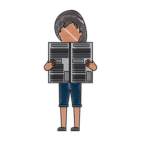 avatar woman standing and reading a newspaper over white background, colorful design. vector illustration