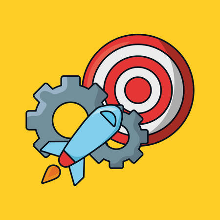 seo design with target and rocket with gear wheels over yellow background, vector illustration