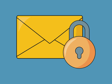 seo design with envelope and padlock over blue background, vector illustration Illustration