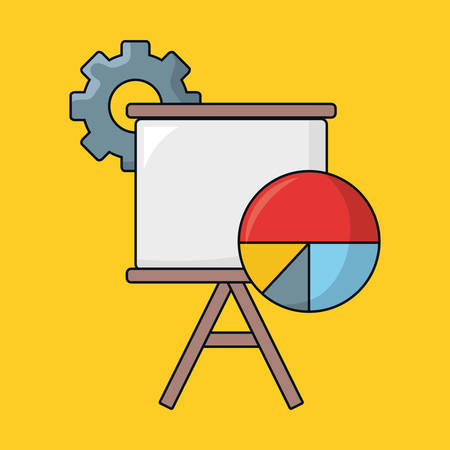seo design with presentation board and pie chart over yellow background, vector illustration