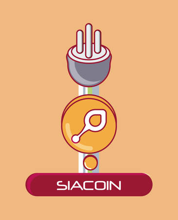 Siacoin coin with plug over orange background, colorful design. vector illustration