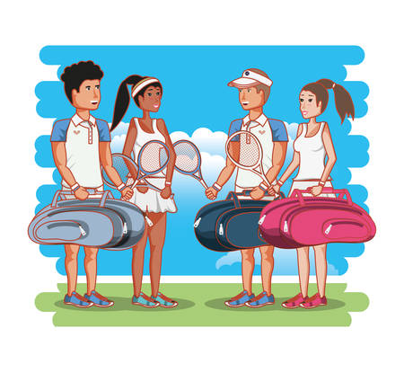 couple of players tennis characters vector illustration design