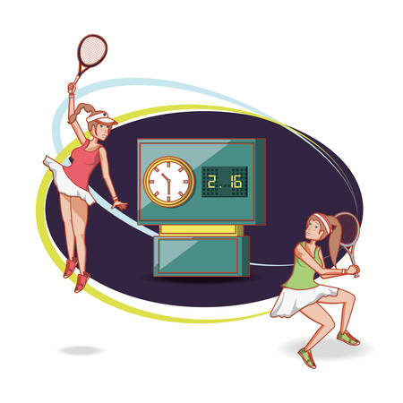 women playing tennis characters vector illustration design