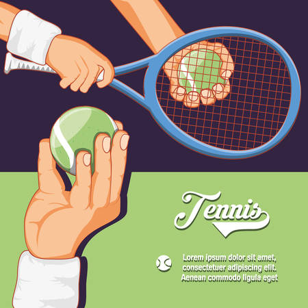 hands tennis players with rackets and balls vector illustration design