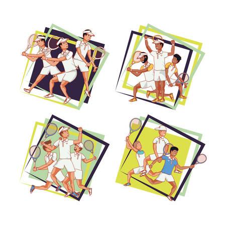 men players tennis characters vector illustration design