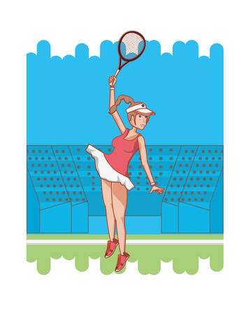 woman playing tennis character vector illustration design
