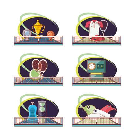 tennis sport equipment set icons vector illustration design