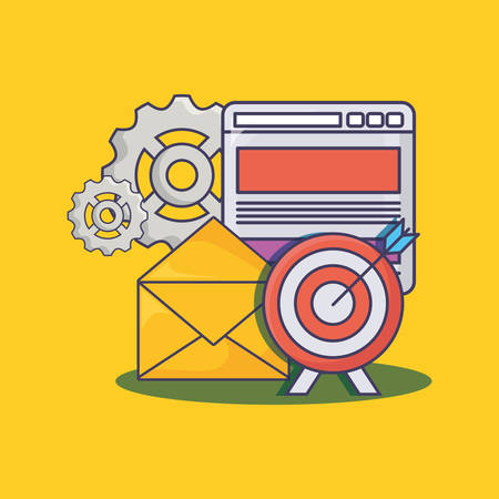 email marketing design with web interface and gear wheels over yellow  background, colorful design. vector illustration Illustration