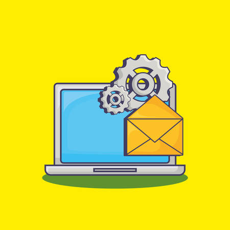 Laptop computer and email marketing related icons over yellow backgorund, vector illustration Illustration