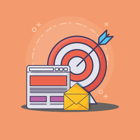email marketing design with web interface and target over orange background, colorful design. vector illustration