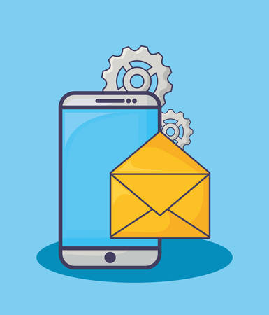 smartphone with email marketing related icons over blue background, vector illustration