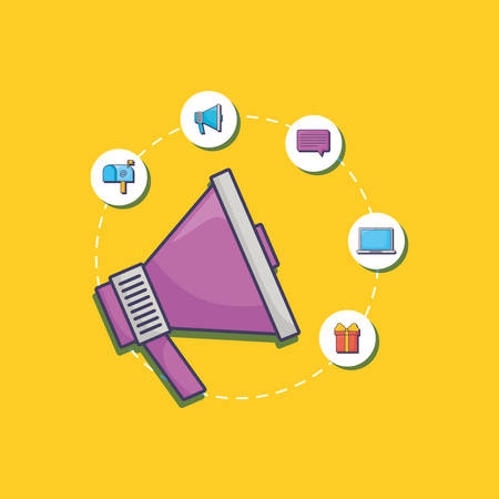 megaphone and social media related icons around over yellow background, colorful design. vector illustration