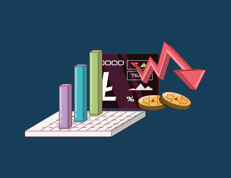 cryptocurrency stock market and bar chart over blue background, colorful design vector illustration.