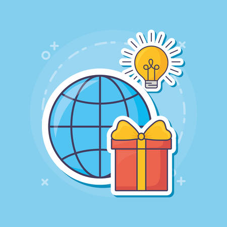 Global sphere with bulb and gift box over blue background, colorful design.