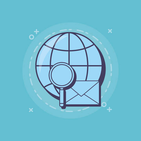 global sphere with lupe and envelope over blue background, vector illustration