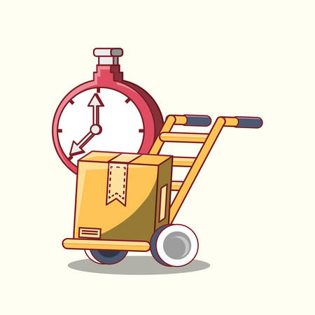 chronometer and hand cart with box over white background, free delivery concept. colorful design. vector illustration