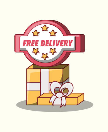 Free delivery design with gift box over white background, colorful design. vector illustration