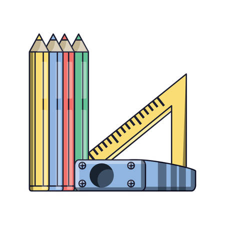 colored pencils with sharpener and squad ruler icon over white background, colorful design. vector illustration