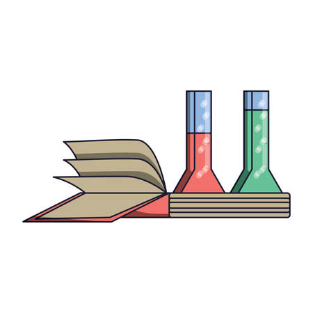 book and chemical flasks icon over white background, colorful design. vector illustration