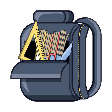 School backpack with books and ruler squad over white background Illustration