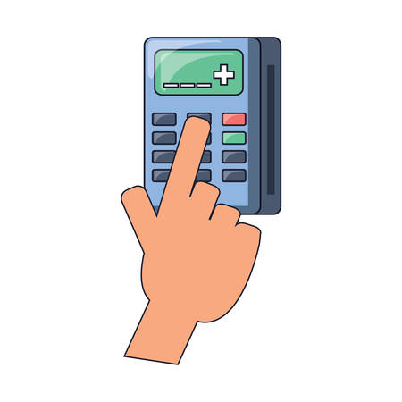 Hand with calculator icon over white background